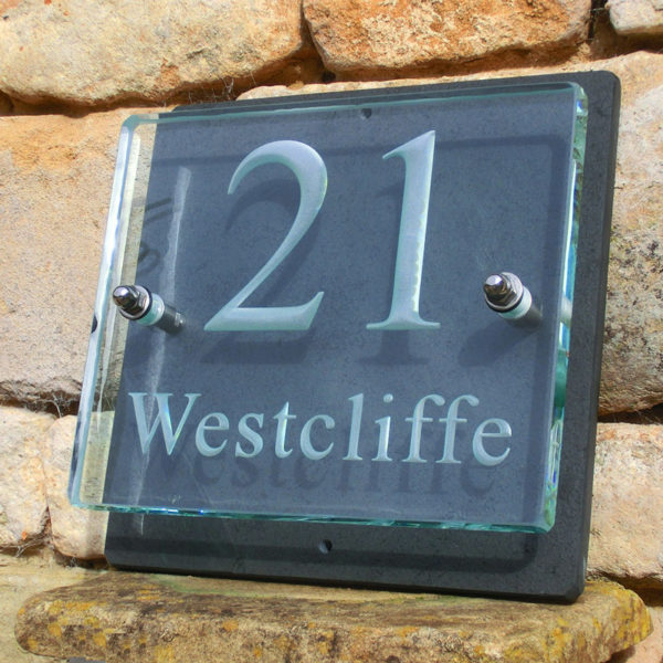 Small Glass Name & House Number Plaques 05