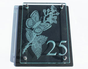 Large glass and slate house plaques