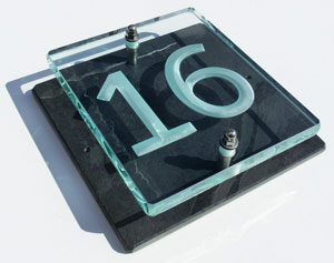 Small glass and slate house number plaques
