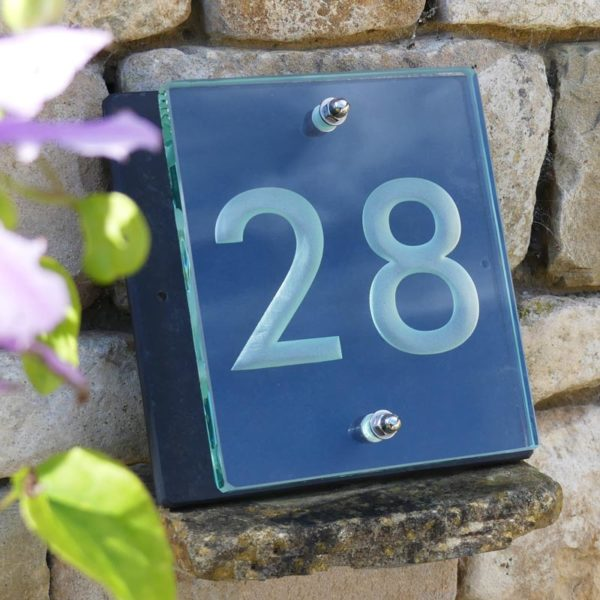 Small Glass House Number Plaque - Futura Font