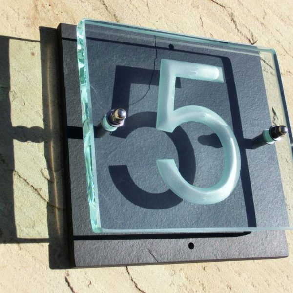 Small Glass House Number Plaque - Arial Font