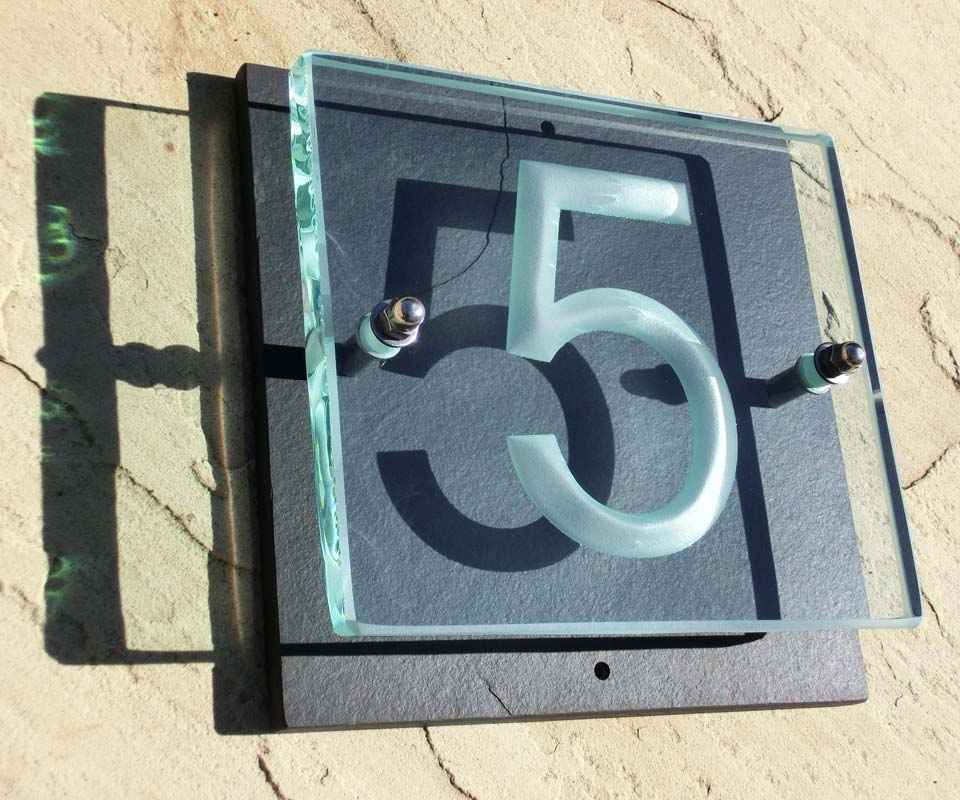 modern house number sign plaque signs mid century small glass font