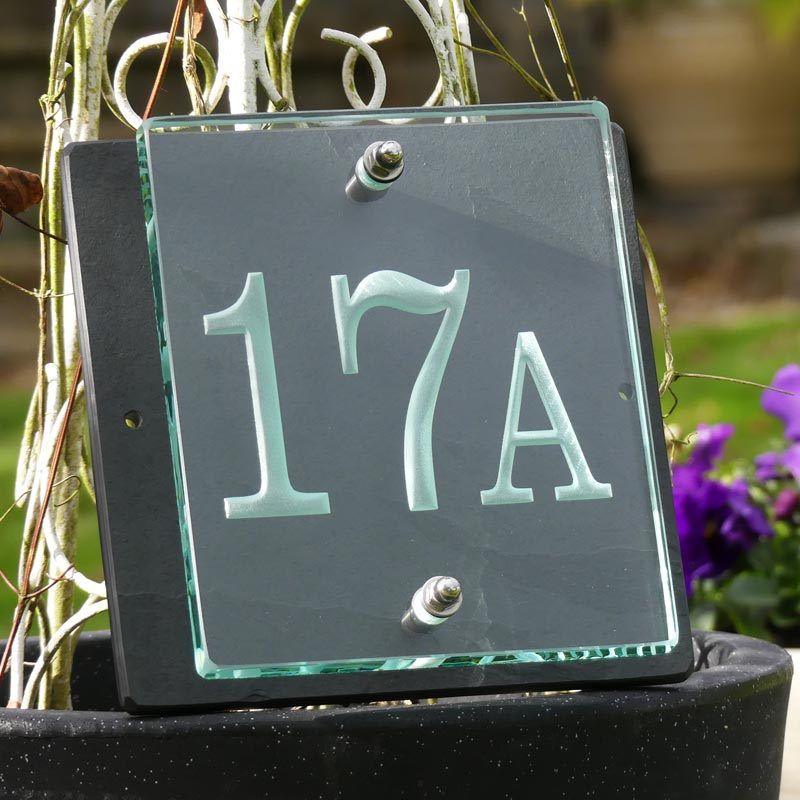 Buy a Small Glass House Number Sign - Tim Carter