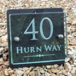 handmade glass house number sign with sandblasted numbers letters
