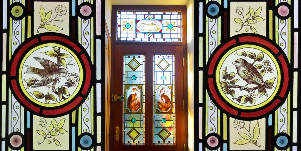 Stained Glass Restoration of door and window glass panels